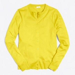 J.CREW Caryn Crewneck Cardigan Lemon Zest Yellow
